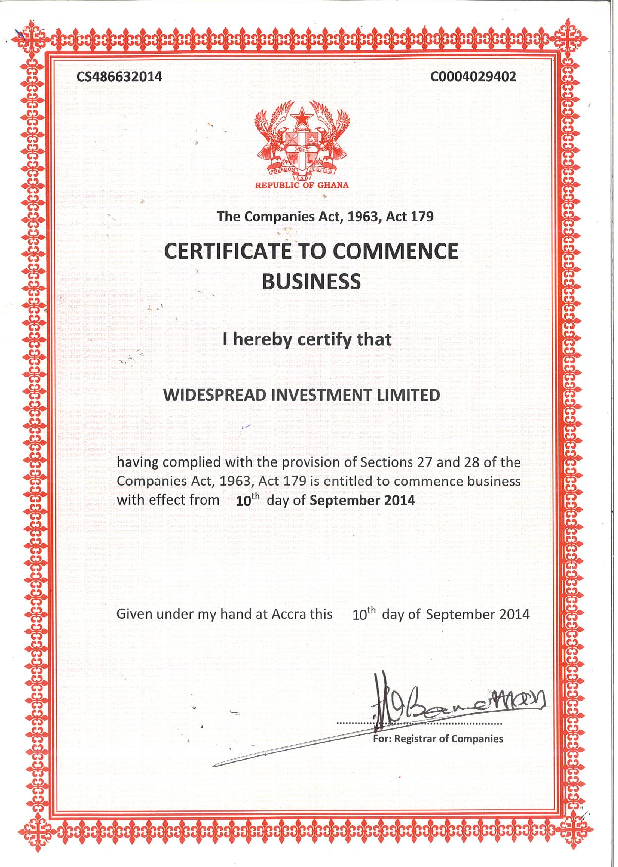 Certificate to Commence Business