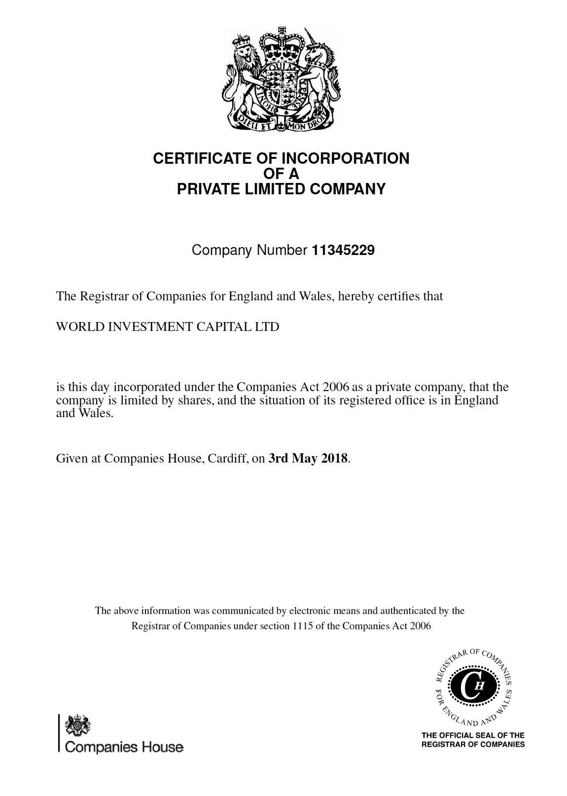 CERTIFICATE OF INCORPORATION OF A PRIVATE LIMITED COMPANY